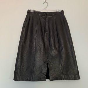 Vintage Genuine Leather Midi Skirt Pleated Pockets